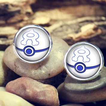 Team Aqual Ball Pokeball earrings,pokeball earrings,pokemon earrings,earrings,anime,silver ear studs, stud earrings,12mm earrings