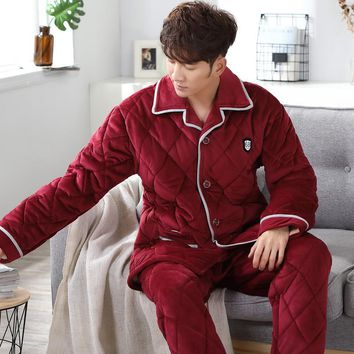 Thick Coral Fleece Pajamas Sets Men Autumn Winter Warm Pyjama Pants Flannel Sleepwear Casual Homewear Home Clothing High Quality