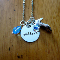 "Disney's ""Cinderella"" Inspired Necklace. Believe. Silver colored, Swarovski crystal, for women or girls"