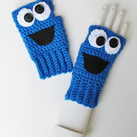 Sesame Street COOKIE MONSTER Wristwarmers, Ready to Ship