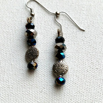 Black and silver beaded earrings.  2 inches in length.