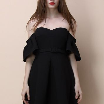 Classy Glitz Off-shoulder Dress in Black