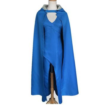 Daenerys Targaryen Game of rights Song of ice and fire Halloween cosplay Hooded cloak Anime game Windbreaker and long skirt