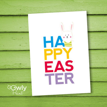 Printable Happy Easter Bunny Card. Ready to print Happy Easter Card. Bunny Easter print. Easter card