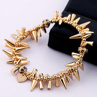 Fashion Gold Rhinestone Spike Stretchy Charm Bracelet wholesale