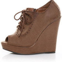 Qupid Enrich 40 Cognac Peep Toe Oxford Wedges