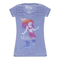 Disney The Little Mermaid Logo Distressed Ariel Graphic Women's Blue T-shirt