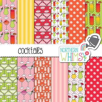 Cocktails Digital Paper - Summer Drinks scrapbook paper in pink, orange, yellow, and green - seamless patterns - commercial use
