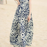 Bohemian Style Floral Sleeveless Maxi Dress