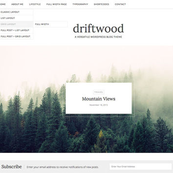 Responsive Wordpress Theme - Driftwood - Blog Template