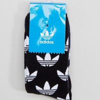 adidas Originals 2 Pack Trefoil Printed Socks In Black & Navy at asos.com