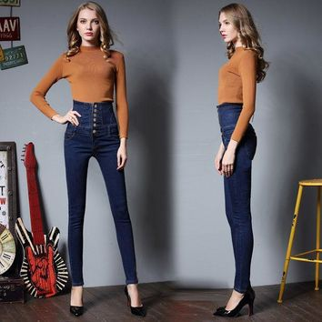 ca PEAPTM4 High Waist Women's Fashion Extra Large Slim Stretch Jeans [10201394695]