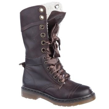Dr Martens Triumph 1914 W Boot DARK BROWN POLISHED WYOMING - Doc Martens Boots and Shoes