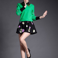Embroidery Pointed Flat Collar Long Sleeve Top with Polka Mini A-Line Skirt Set