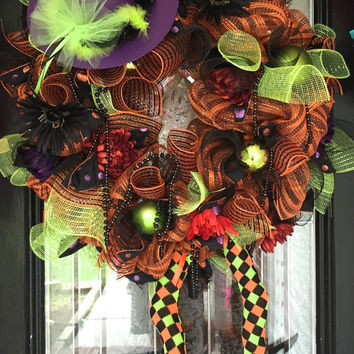 Halloween Wreath, Wicked Witch Wreath, Halloween Decoration, Deco Mesh Wreath, Wreath for Door