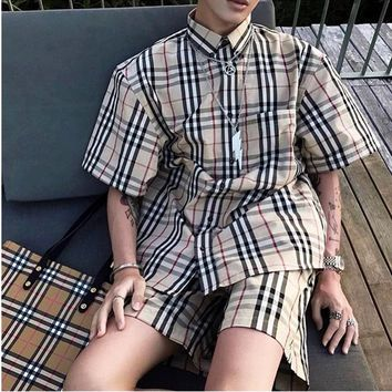 Burberry Tartan Brown Tee Shirt Women Men Top B-MG-FSSH Stripe Tee