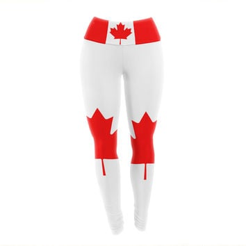 "Bruce Stanfield ""Flag of Canada"" Red White Yoga Leggings"