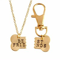 Bestfriend Print Broken Dog Animal Lover Necklace and Key Chain Set