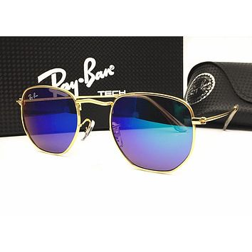 Ray Ban Popular Women Men Stylish Summer Sun Shades Eyeglasses Glasses Sunglasses(9-Color) Sapphire Blue Golden Frame I-MYJ-YF