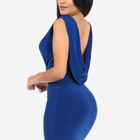 Marine Blue V-cut Cowl Dress