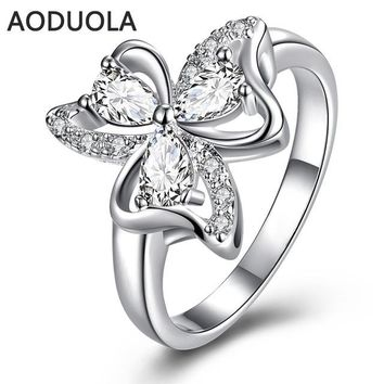 Silver Plated with Crystal Zirconia Rings For Women