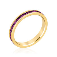 Stylish Stackables With Purple Crystal Ring, size : 09