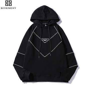 Givenchy 2018 autumn and winter new limited edition line letters loose hooded sweater black