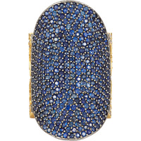 Pavé Sapphire & Pavé Diamond Saddle Ring