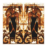 Egyptian Priests and Cobras in White Gold I C1 SDL Canvas Print