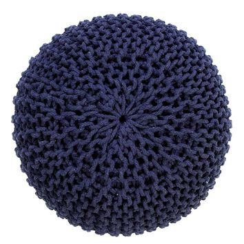 Handmade Round Knitted Pouf | Navy Blue | 50x35cm | GFURN