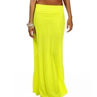 Sale -neon Yellow Maxi Skirt