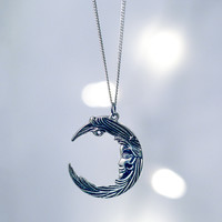 No Sleep Moon Face Necklace