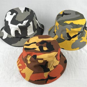 2018 Camouflage print Bucket Hat Fisherman Hat outdoor travel hat Sun Cap Hats for Men and Women 223