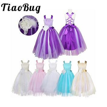 TiaoBug Princess Kids Girls Flower Girl Dress Birthday Party Pageant Holiday Formal Dress Crossed Back Lace Tulle Dress