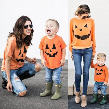 2017 New Brand Family Top Clothing Mother Parent-Child Daughter Son T-shirt Matching Halloween Pumpkin Outfit
