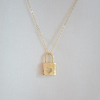 Dainty Gold Heart Cutout Lock Necklace Love Necklace Small Delicate Necklace