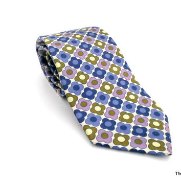 Ted Baker London silk necktie hand tailored in the USA purple violet blue olive green flower tie