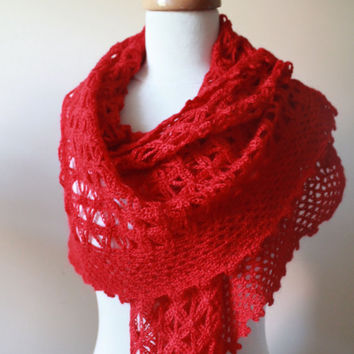 New RED SHAWL TRIANGLE Crochet Scarf Mohair Acrylic by filofashion