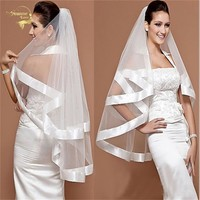 Brides Simple Tulle Veil with 2 Ribbon Layered Edge - Free Shipping