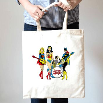 Justice League Band Super Girl Wonder Woman Batgirl Illustration Tote Bag