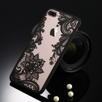 Sexy Vintage Black Floral Phone Case For Apple iPhone 7 6 6s 5 5s SE