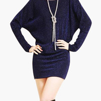 Glitter Accent Long Sleeve Blouson Mini Dress