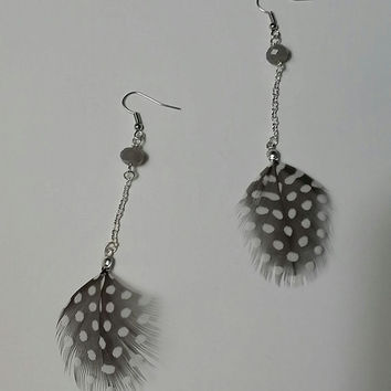 Black and White Guinea Feather Earrings - Long Silver Chain, Gray Agate