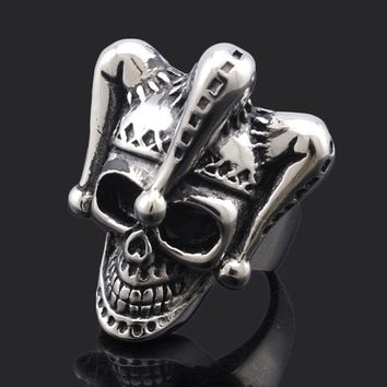 Rock Style Clown Hat Skull Ring For Men's Stainless Steel Biker Jewelry