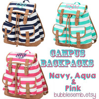 Monogrammed Striped Campus Backpack FREE PERSONALIZATION pink aqua navy