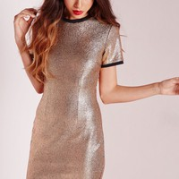 Missguided - Curve Hem Shift Dress Cracked Foil Snake