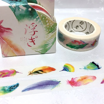 feather masking tape 7M Watercolour feathers colorful feathers washi tape feather sticker tape fur removable adhesive tape decor gift