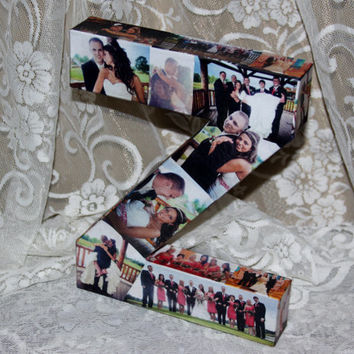 "Wedding Birthday Photo Letter Picture Letter Custom  Personalized Monogram 12"" 3D Letter Photo Collage all sides of any letter or number"