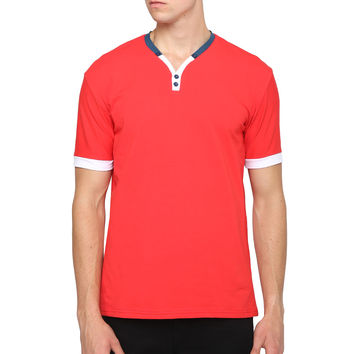 Mens Short Sleeve V Neck Color Block T Shirt