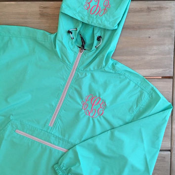 SALE 1 week only- Youth Girl's Monogrammed Charles River pullover lightweight rain jacket